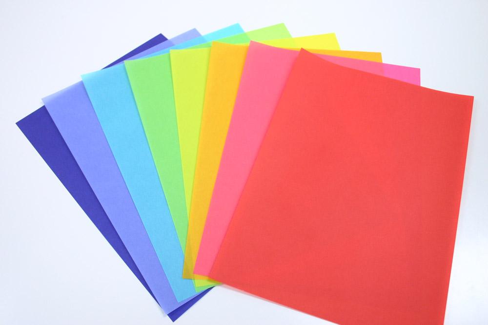 色付きのトレーシングペーパー色鮮やかな特殊紙クロマティコのサンプルセットです。  特殊紙サンプルセット【クロマティコ】<59kg>A4(各色1枚)5枚【送料無料】