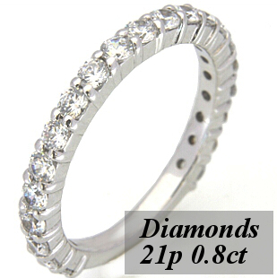 ハーフエタニティリング ダイヤモンド21p、約0.8ct S8430L☆グレードアップ可能☆