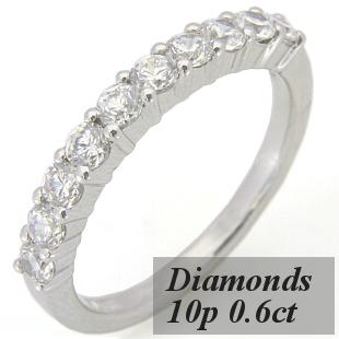 ハーフエタニティリング ダイヤモンド10p、約0.6ct S8040L☆グレードアップ可能☆