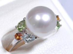 美麗☆白蝶真珠リング K18WG アクアマリン ペリドット シトリン 指輪★パール