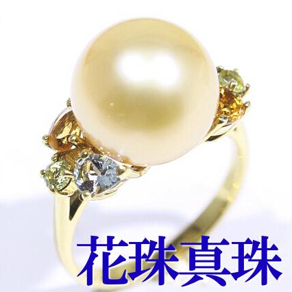 GoldLip花珠真珠 白蝶真珠ゴールド K18 アクアマリン シトリン ペリドット★パール