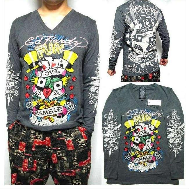 エドハーディー ed hardy エド・ハーディー Tシャツ ロンT メンズ ギャンブル Vネック ラインストーン グレー S-XL