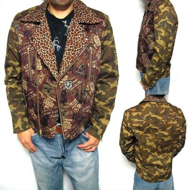オリジナル ライダースジャケット 迷彩 メンズ デニム カーキ ブラウン 豹柄 メンズファッション アウター ジャンパー ブルゾン