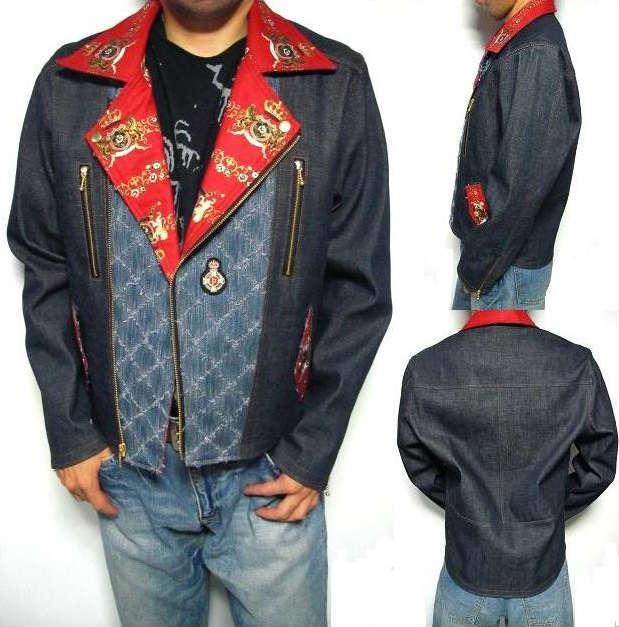 オリジナル ライダースジャケット メンズ デニム ブルーデニム 赤 レッド ループフリンジ メンズファッション アウター ジャンパー ブルゾン