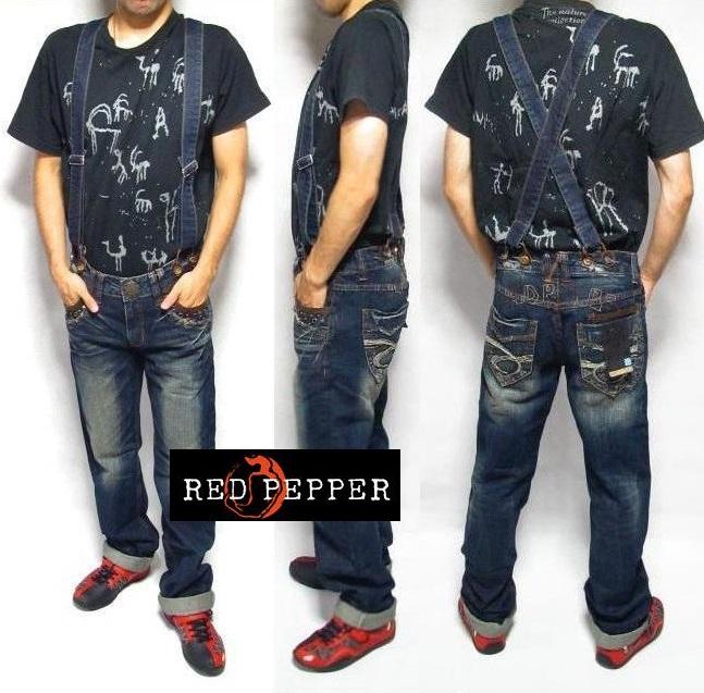 レッドペッパー ジーンズ メンズ サスペンダー RED PEPPER ストレート デニム パンツ 【あす楽】【即日出荷】ラッピング無料【送料無料】【返品OK 返金保証】【返品送料無料】