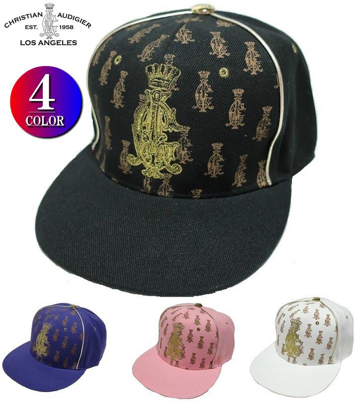 クリスチャンオードジュー キャップ 刺繍 帽子 野球帽 ベースボールキャップ Christian Audigier ブラック/パープル/ピンク/ホワイト