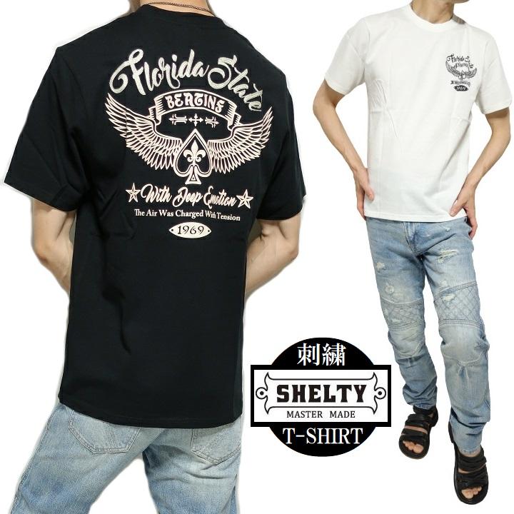 だから私は選んだライダー気分を実感できる Tシャツ メンズ 半袖 超美品再入荷品質至上 ハート ウイング 刺繍ロゴ シェルティー カットソー ホワイト M-L 全国どこでも送料無料 SHELTY ブラック