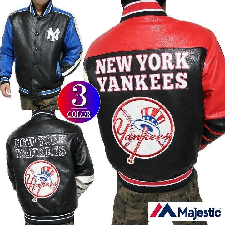 スタジャン ニューヨーク/ヤンキース メンズ 合成皮革/フェイクレザー スタジアムジャンパー メンズ マジェスティック/majestic バック/ビッグ/ワッペン 3カラー M-XL