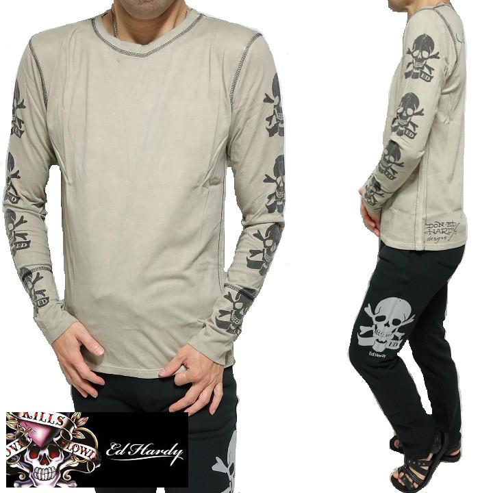 エドハーディー ed hardy エド・ハーディー Tシャツ ロンT メンズ 両袖/スカル/ドクロ/長袖 ビンテージ/ベージュ S-L
