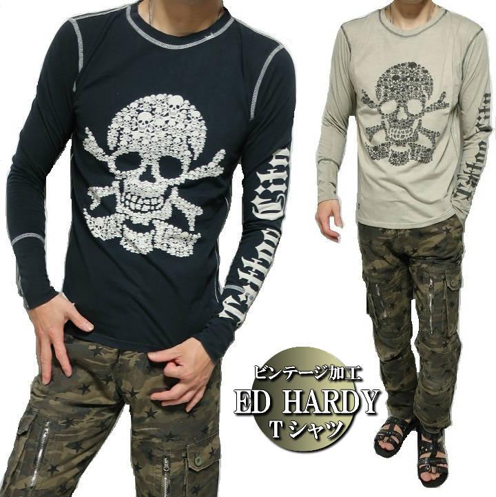 エドハーディー ed hardy エド・ハーディー Tシャツ ロンT メンズ いっぱい/スカル/ドクロ/長袖 ビンテージ/ブラック/ベージュ S-L
