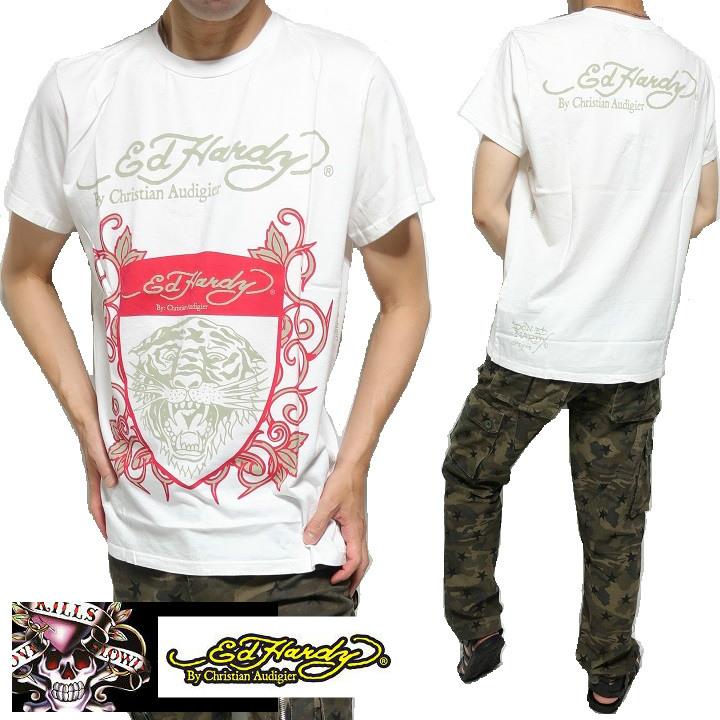 エドハーディー ed hardy クリスチャンオードジュー Tシャツ メンズ 半袖 タイガー エド・ハーディー ホワイト M-L