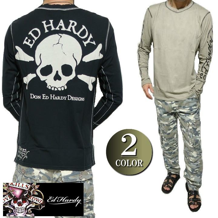 エドハーディー ed hardy エド・ハーディー Tシャツ ロンT メンズ ビッグ/スカル/ドクロ/背中 長袖 ビンテージ/ブラック/ベージュ S-L
