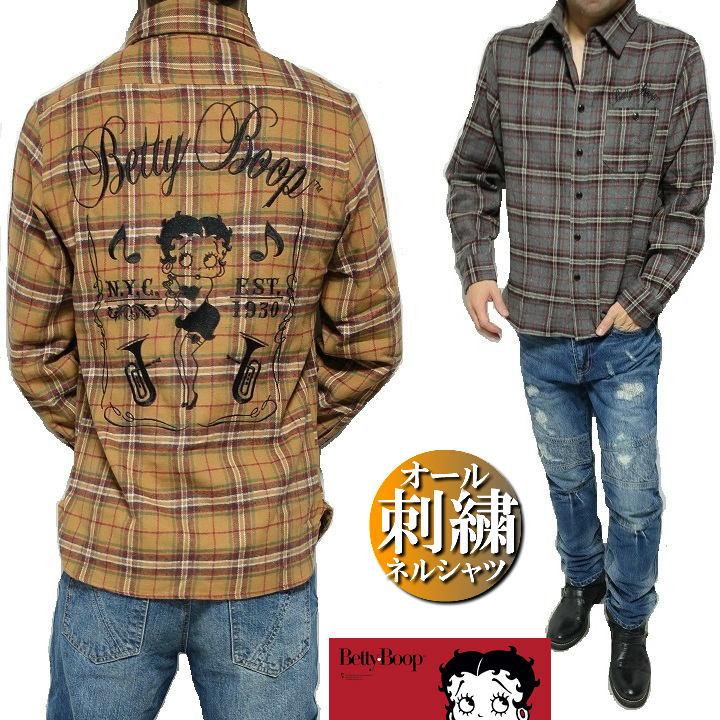 ネルシャツ ベティーブープ/Betty Boop メンズ チェック 刺繍/ミュージック/音楽 長袖シャツ メンズファッション トップス カジュアルシャツ