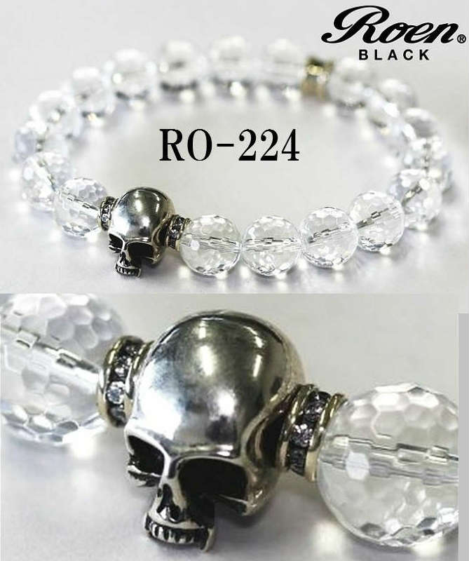 Roen ロエン ブレスレット メンズ ブランド RoenBLACK/ロエンブラック クリスタル 数珠 ロエン スカル ブレスレッド RO-224 RO-204 ジュエリー・アクセサリー メンズジュエリー