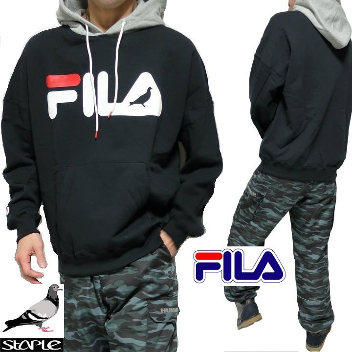 FILA フィラ staple ステイプル コラボ パーカー メンズ/レディース 長袖 ブラック/フードグレー サイズS-XL
