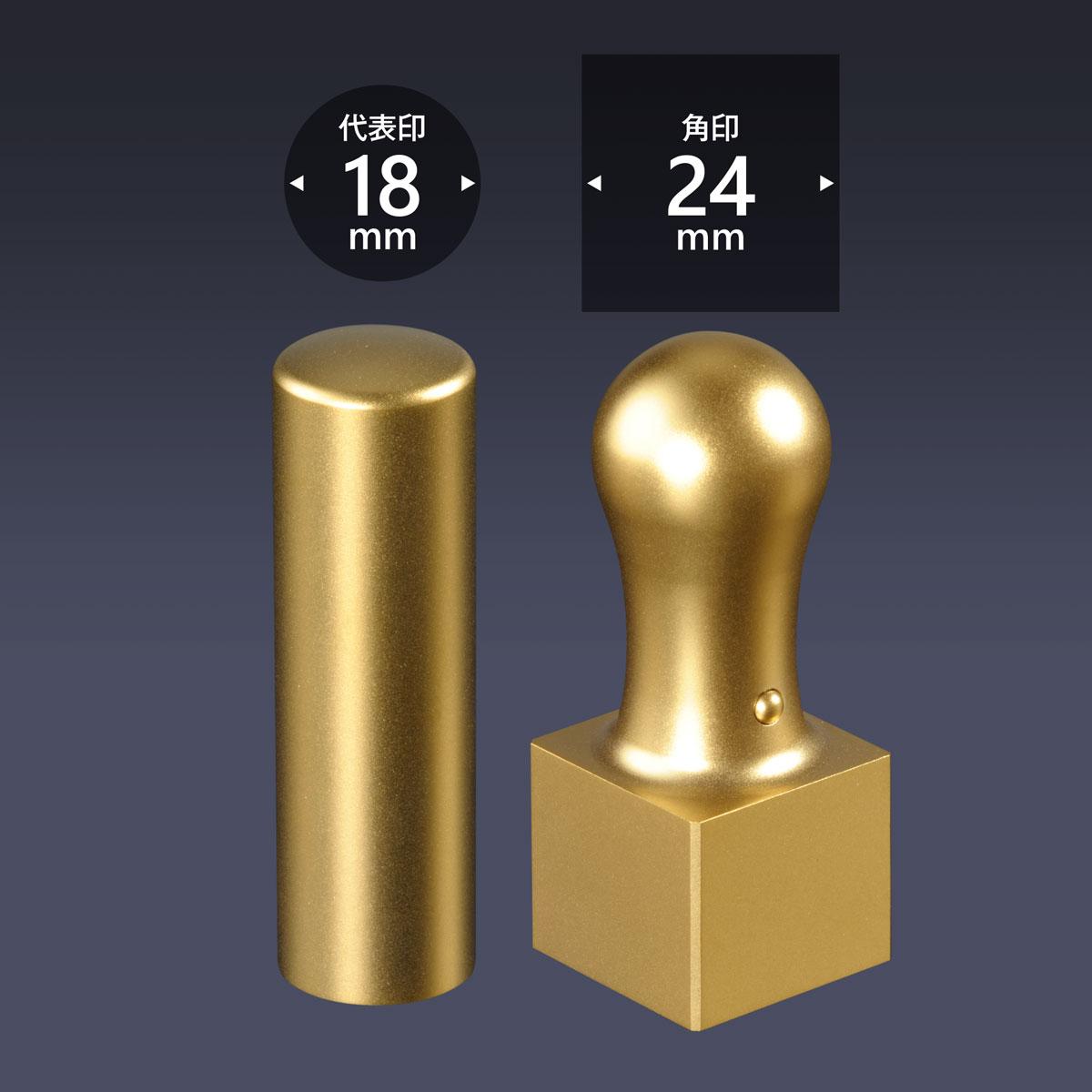 会社印 ブラストチタン(ゴールド)2本A24セット/ 法人 会社設立 実印 銀行印 角印 女性 法人印鑑 社印