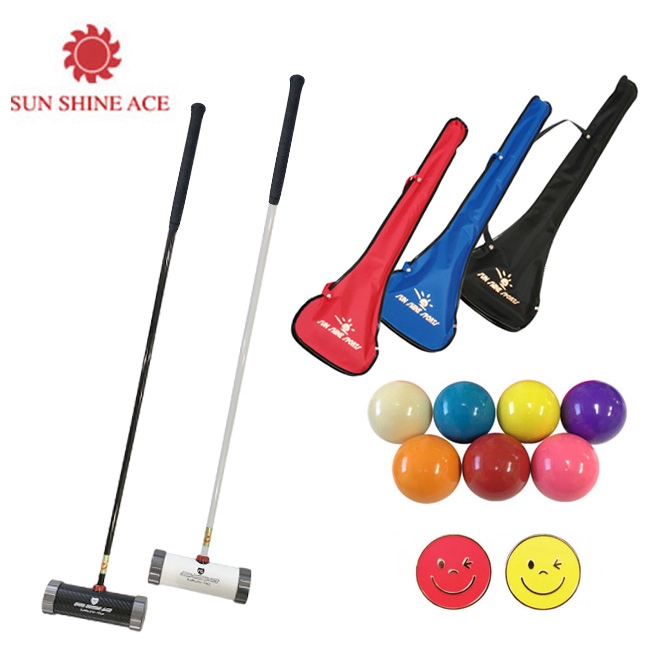 マレットゴルフ スティック サンシャイン 新マレットゴルフパワーショットシリーズエントリーモデル 4点セット ボール2個付き マレットゴルフ 用品 メンズセット レディースセット