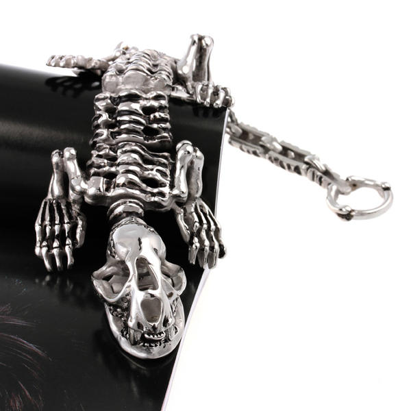 Sterling Silver 7 4.5mm Charm Bracelet With Attached 3D Stegosaurus Spiked Plant Eating Dinosaur Charm
