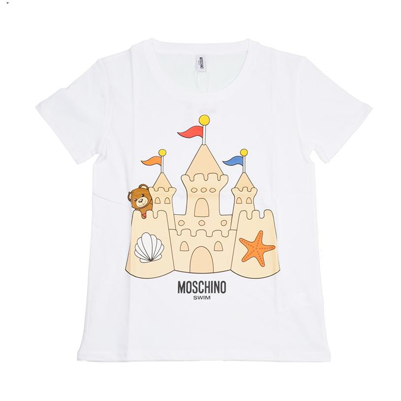 MOSCHINO モスキーノ SWIM レディース キャッスルテディ ホワイト半袖Tシャツ イタリア正規品 新品