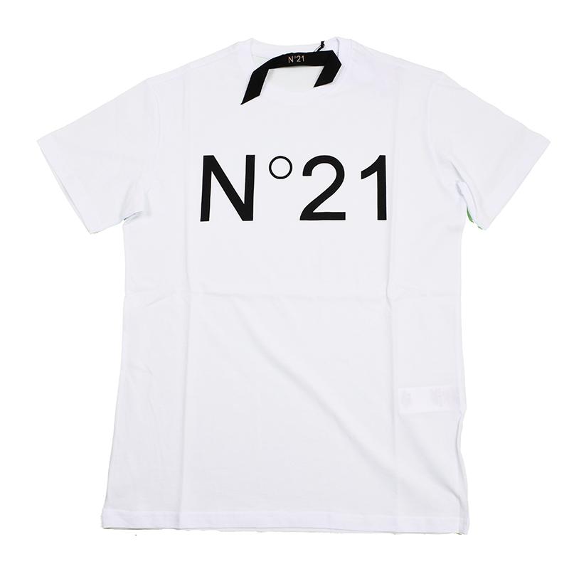 N21 ヌメロ ヴェントゥーノ メンズ ホワイト半袖Tシャツ イタリア正規品 新品 F021 6317