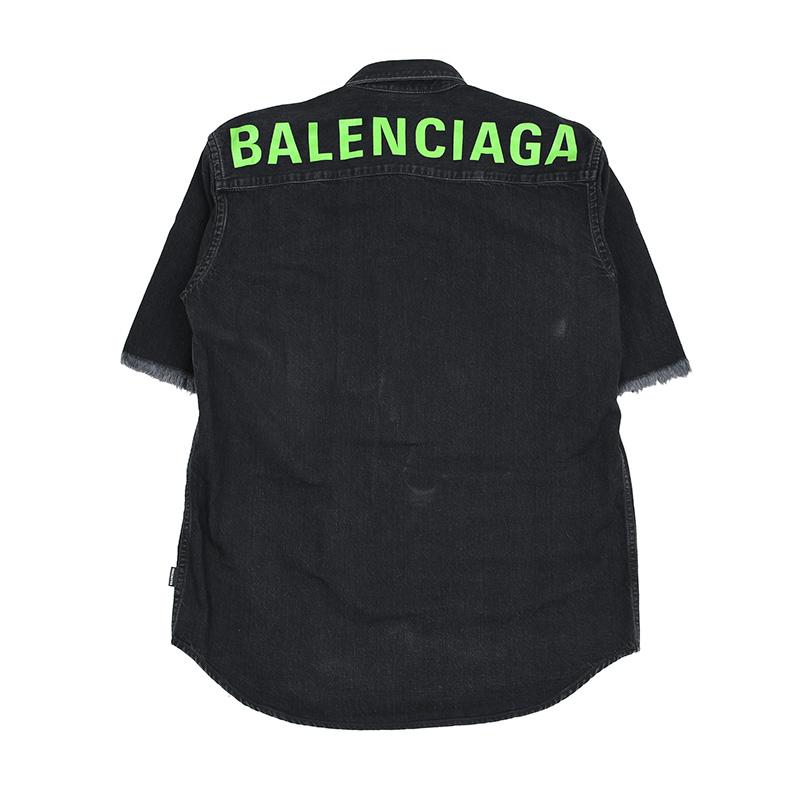 BALENCIAGA バレンシアガ メンズ ブラック半袖デニムシャツ イタリア正規品 571368 TBP19 1103 新品