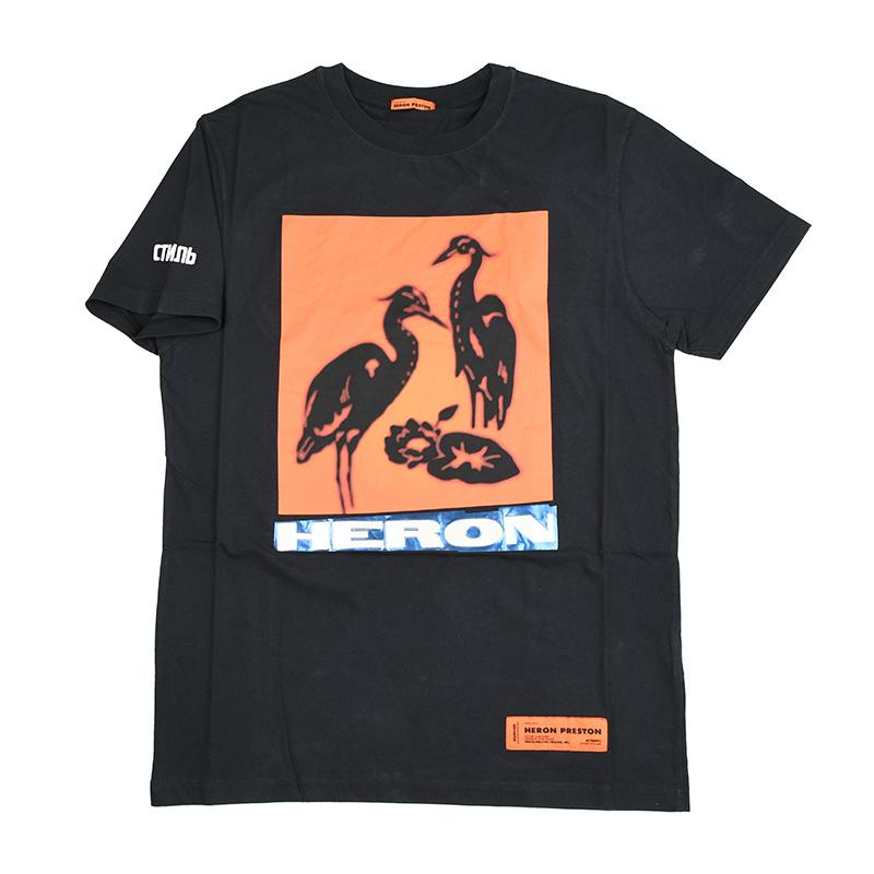 HERON PRESTON ヘロンプレストン ブラック半袖Tシャツ イタリア正規品 メンズ 新品 HMAA004F197600030488