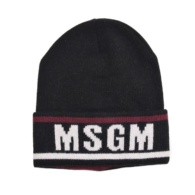 MSGM メンズ ブラックニットキャップ 帽子 イタリア正規品 新品