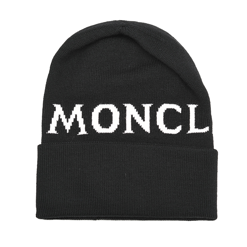 MONCLER モンクレール ロゴブラックウールニットキャップ 帽子 9962700 イタリア正規品