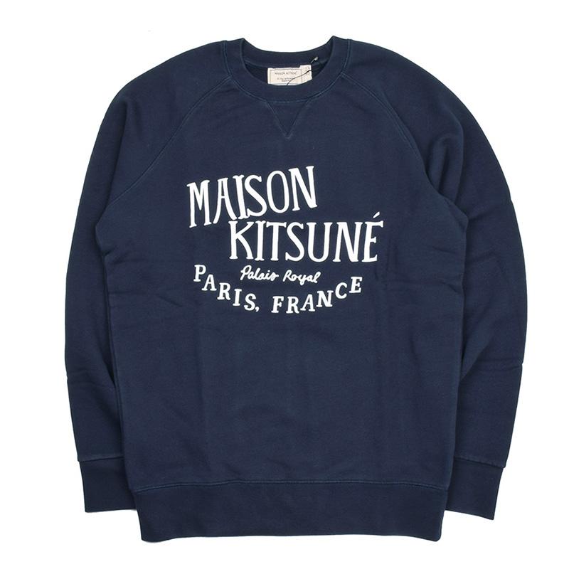 MAISON KITSUNE' PARIS メゾン キツネ FW17M705 ネイビーロゴスウェットシャツ トレーナー 2017-2018AW イタリア正規品 メンズ 新品