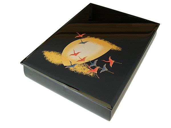 【送料無料】 漆器 文庫 月に飛鶴 (木製 文箱)