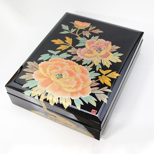 【送料無料】 合口 文庫 牡丹 木製 文箱 手書き蒔絵