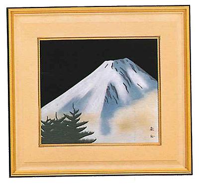 色紙 漆芸額 青富士山 越前漆器