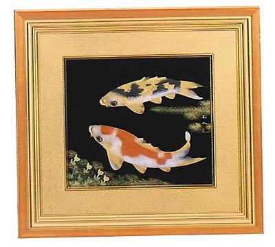 色紙 漆芸額 鯉 越前漆器