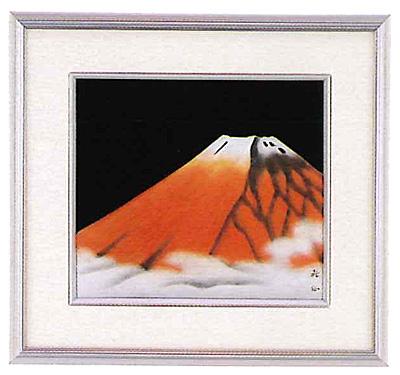 色紙 アルミ 漆芸額 赤富士山 越前漆器