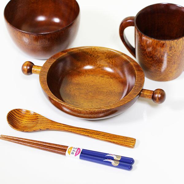 子供食器セット 安心安全 木製 漆塗り 飯椀 箸 汁椀 鉢 スプーン 兵左衛門 国産 日本製