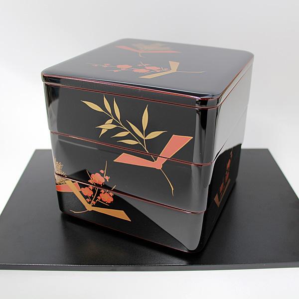 三段重箱 結びのし松竹梅 蒔絵 6.5寸 越前漆器 越前塗り 木製 漆塗り 国産 日本製 まきえ お正月