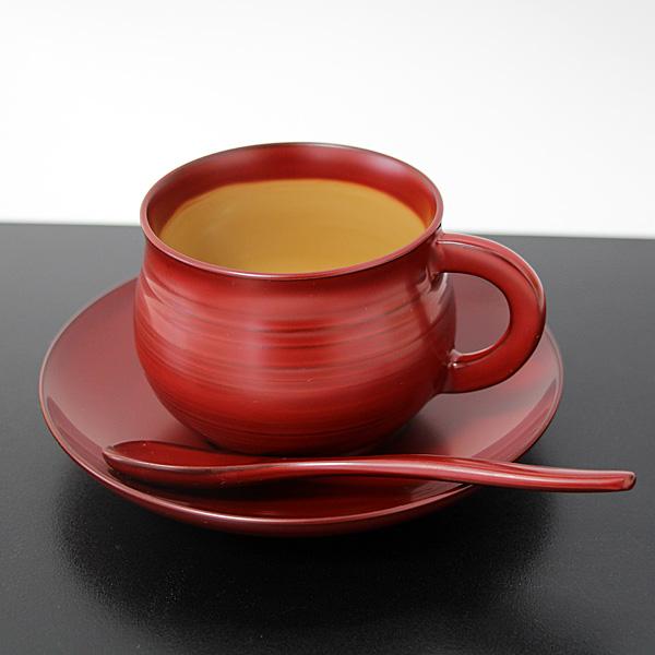 コーヒーカップ セット 古代朱 畠中作 木製 越前漆器 越前塗 漆塗り 国産 日本製