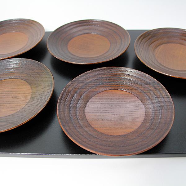 銘々皿 欅工芸 5枚 (木製 漆器 国産 取り皿)