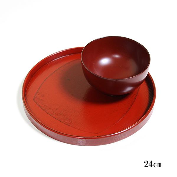 丸盆 くつわ布貼り 根来塗り 木製 漆器 お盆 トレー 直径24cm