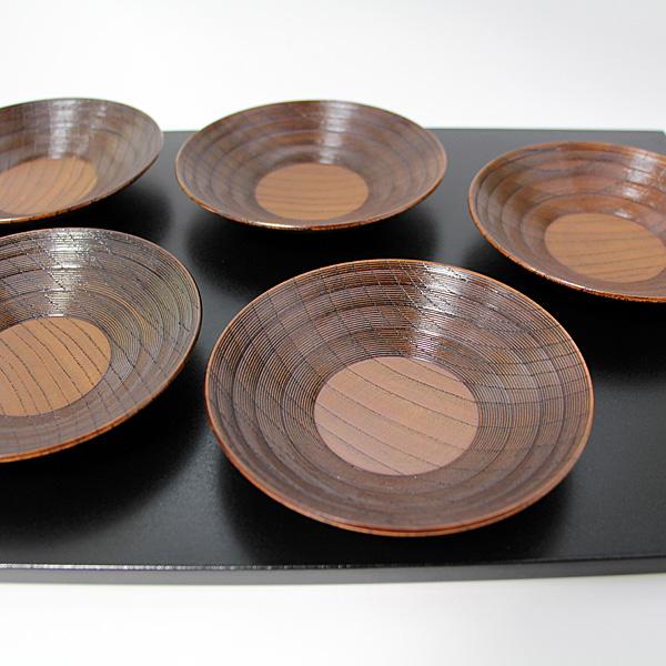 茶托 欅工芸 5枚 木製 漆器 国産 けやき