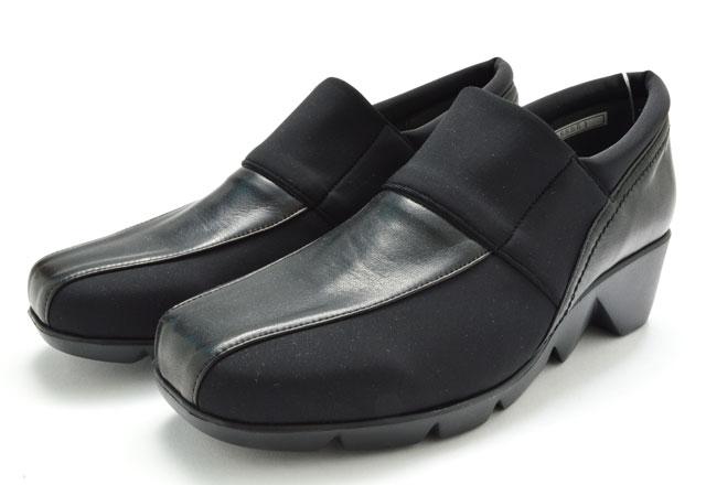 カジュアルモネ Casual Monet 88951 レディース カジュアル シューズ ウエッジソール 婦人 ブラック 靴