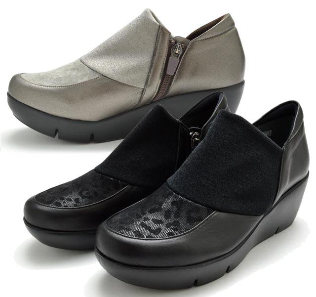 送料無料 モネ 883905 Monet カジュアルシューズ 厚底 レディース 婦人 皮革 3E ブラック オーク 靴