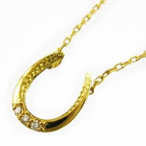 ジュエリーネックレス お守りに馬蹄 メンズ 4月誕生石 天然ダイヤモンド k18ゴールド 約0.01ct (ホワイト イエロー ピンク)