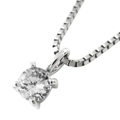 ペンダントネックレス レディース 4月誕生石 天然ダイヤモンド 約3.3mm プラチナ900 約0.14ct