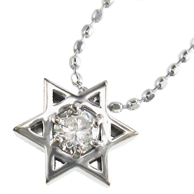 ペンダント ネックレス 六芒星 メンズ 4月誕生石 天然ダイヤモンド k10ゴールド 約0.10ct (ホワイト イエロー ピンク)