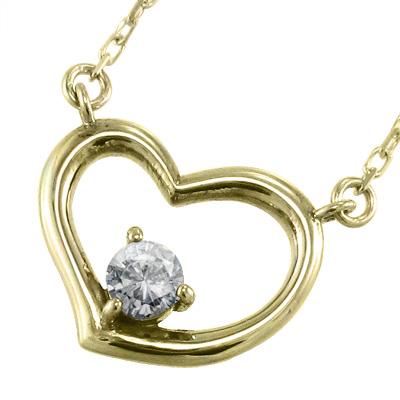 ジュエリー/ネックレス/オープン/ハート/レディース/4月誕生石/天然ダイヤモンド/k10ゴールド/約0.10ct (ホワイト イエロー ピンク)