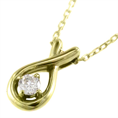 ネックレス クロス レディース 4月誕生石 天然ダイヤモンド ゴールドk18 約0.07ct タマゴ型 (ホワイト イエロー ピンク)