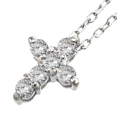 ぷち ペンダント ネックレス ミニ クロス レディース 4月誕生石 天然ダイヤモンド 白金(プラチナ)900 約0.20ct