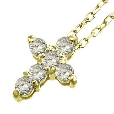 ぷち ペンダントネックレス ぷち クロス レディース 4月誕生石 天然ダイヤモンド k18ゴールド 約0.20ct (ホワイト イエロー ピンク)