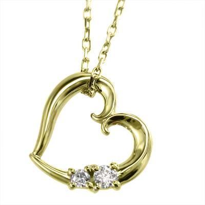ジュエリー ネックレス オープン ハート レディース 4月誕生石 天然ダイヤモンド ゴールドk10 約0.05ct (ホワイト イエロー ピンク)